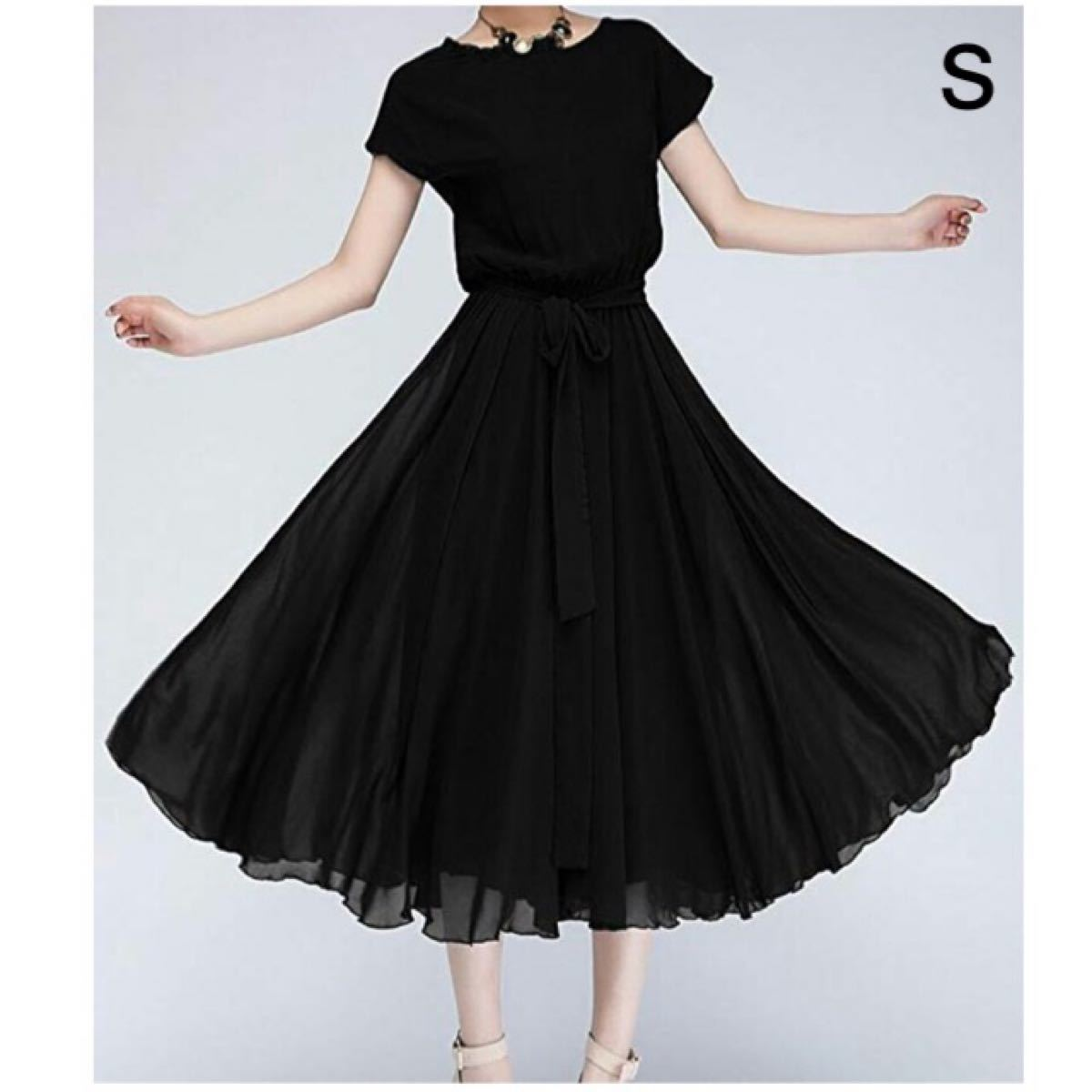 ワンピース フォーマル ウエスト リボン ロング ドレス 半袖 ブラック 黒 S