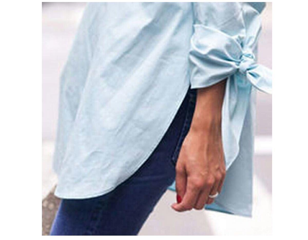 オフショルダー カットソー シャツブラウス 袖リボン結び ライトブルー水色 XL