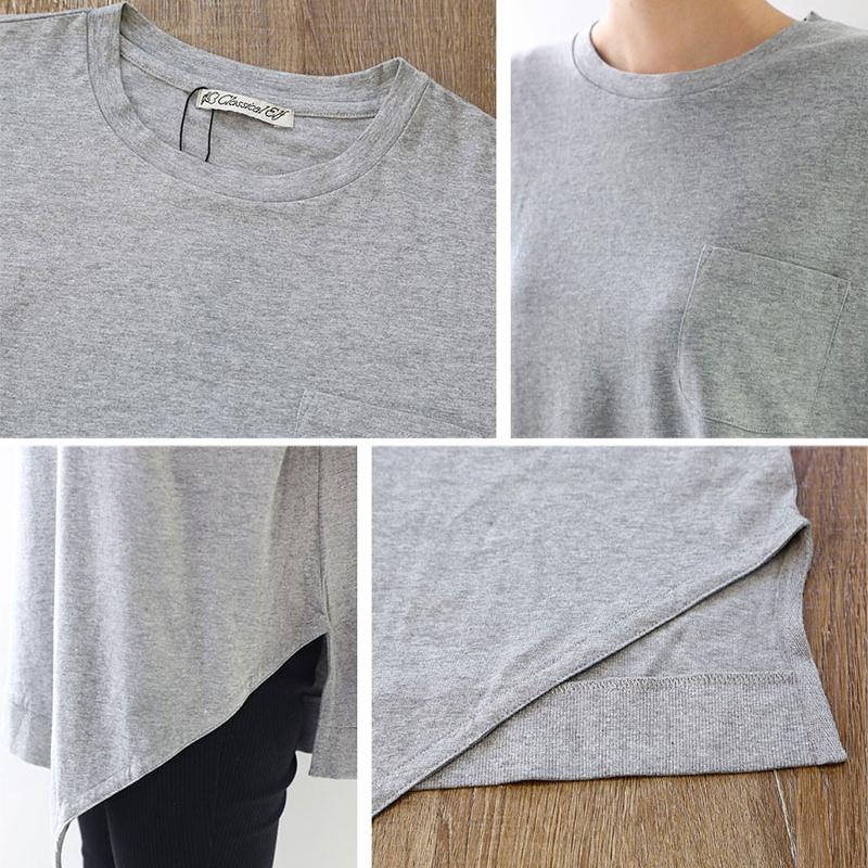 半袖 Tシャツ アシメトリ ロングシャツ 丸首 無地 ホワイト 白 カットソー デイリー シンプル オーバーサイズ XL ビッグ