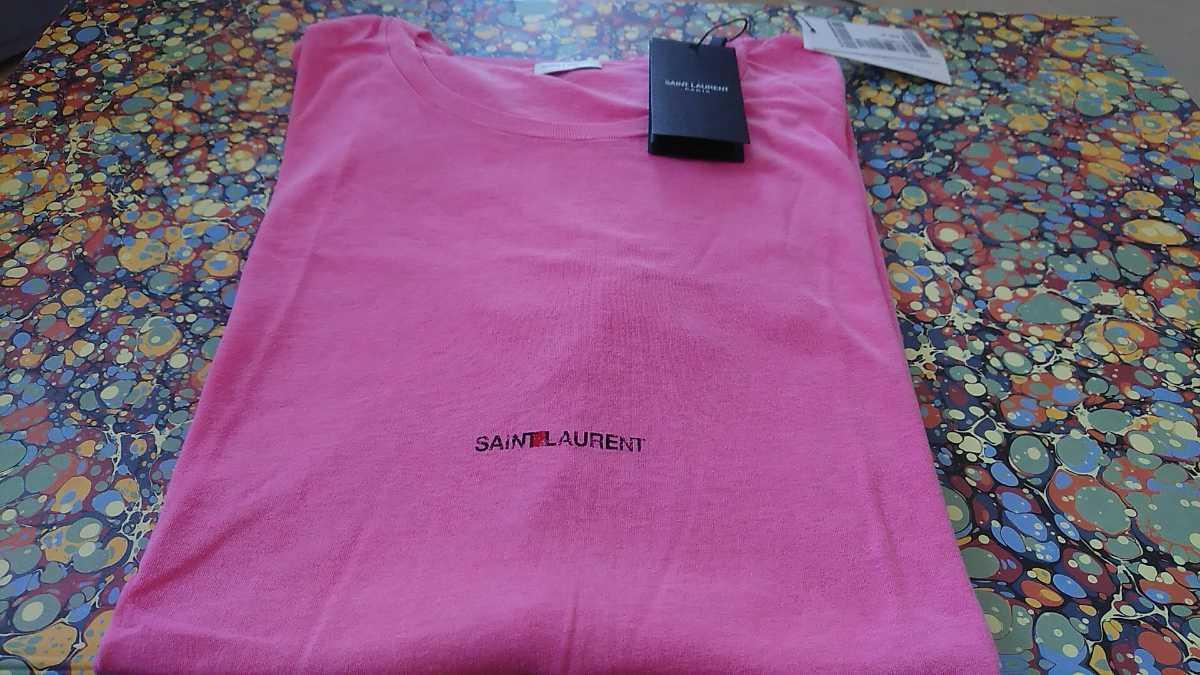正規 本物 SAINT LAURENT LOGO Tee Tシャツ サンローラン ピンク XL SAINTLAURENT T-shirt_画像1