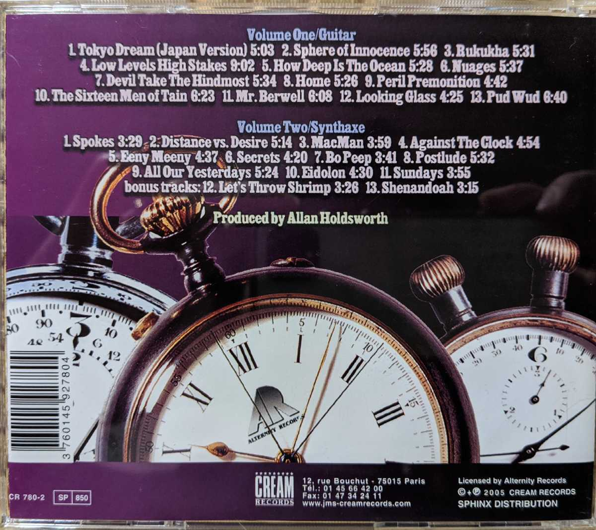 【2枚組】Allan Holdsworth / The Best Of Allan Holdsworth against The Clock / CR780-2 / 3760145927804 / アラン・ホールズワース_画像4