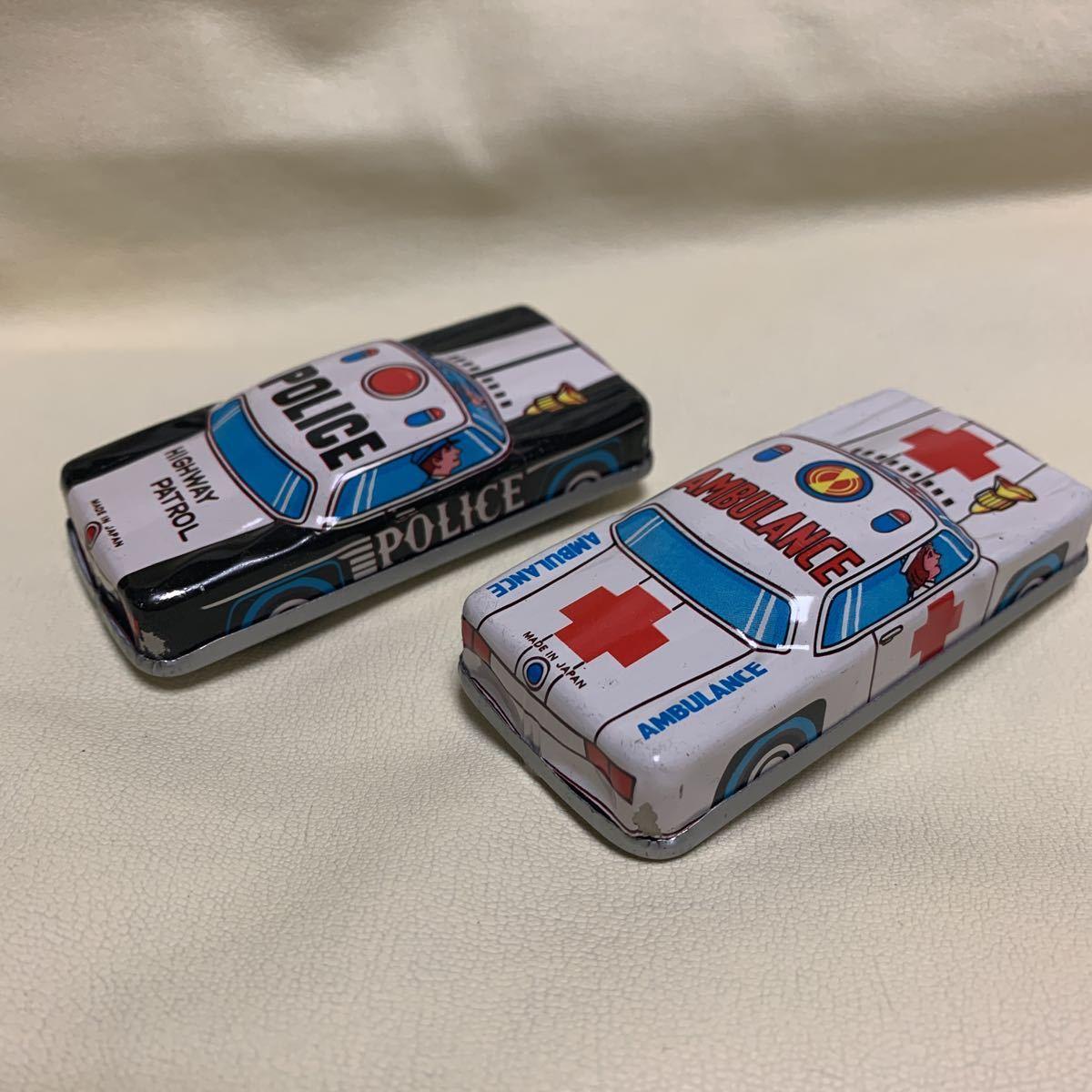 ブリキ[日本製・当事物]《パトカー・救急車両》2点セット[未使用コレクション保管品・現状現品同等品渡し]_画像2
