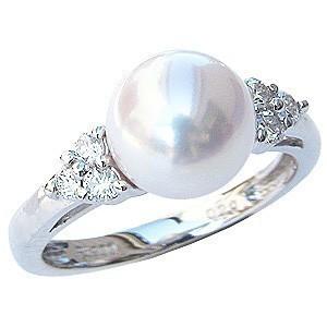 ブライダル指輪 あこや真珠 K18ホワイトゴールド ダイヤモンド,指輪&真珠&アコヤ真珠
