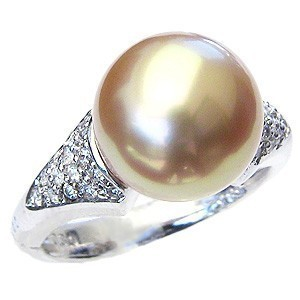 指輪 南洋真珠パールリングホワイトゴールド ダイヤモンド,指輪&真珠&黒蝶(くろちょう)真珠