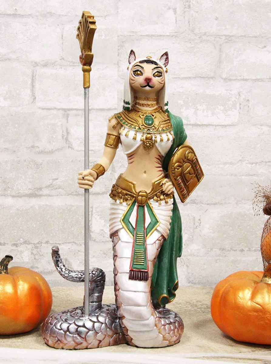悪の化身アペプを 殺し蛇の尾を持った古代エジプト ネコの女神 バステト神像 彫刻 彫像 エスニック猫神 多産の神 プレゼント贈り物(輸入品