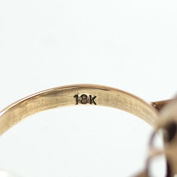 【ヴィンテージリング】サンゴ 珊瑚 立爪細工デザイン アンティークジュエリー #13号 18K ALLOY 指輪 宝石 レディース 送料無料_画像7