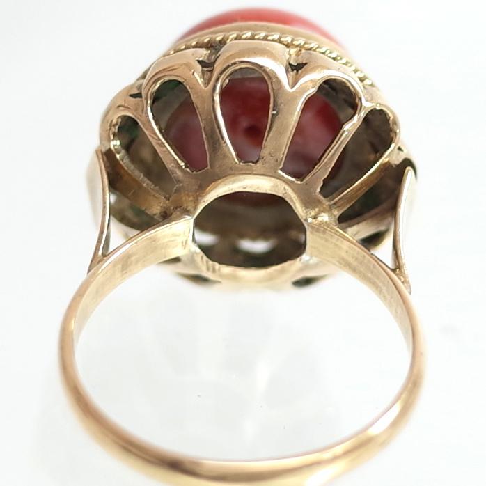 【ヴィンテージリング】サンゴ 珊瑚 立爪細工デザイン アンティークジュエリー #13号 18K ALLOY 指輪 宝石 レディース 送料無料_画像5