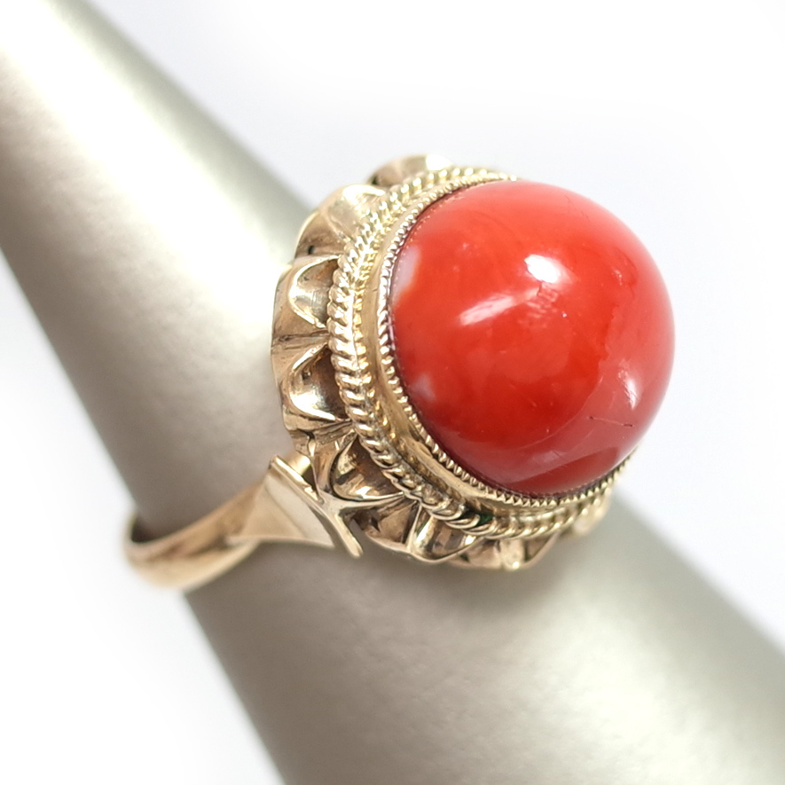 【ヴィンテージリング】サンゴ 珊瑚 立爪細工デザイン アンティークジュエリー #13号 18K ALLOY 指輪 宝石 レディース 送料無料_画像1