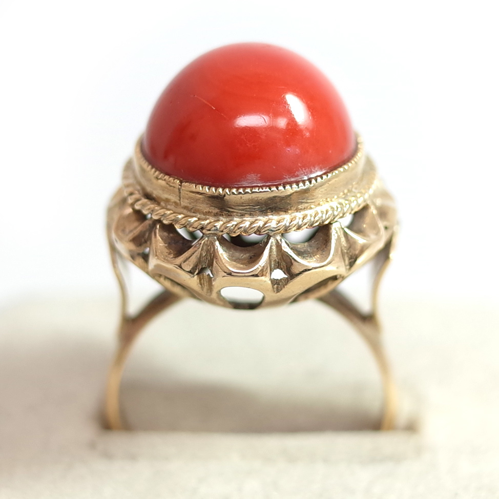 【ヴィンテージリング】サンゴ 珊瑚 立爪細工デザイン アンティークジュエリー #13号 18K ALLOY 指輪 宝石 レディース 送料無料_画像3