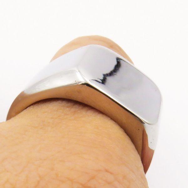 指輪 メンズ リング 印台 シグネット スクエア カレッジ 角丸 サージカルステンレス 艶 光沢 鏡面 シンプル 重厚感【24号/シルバー】_画像3