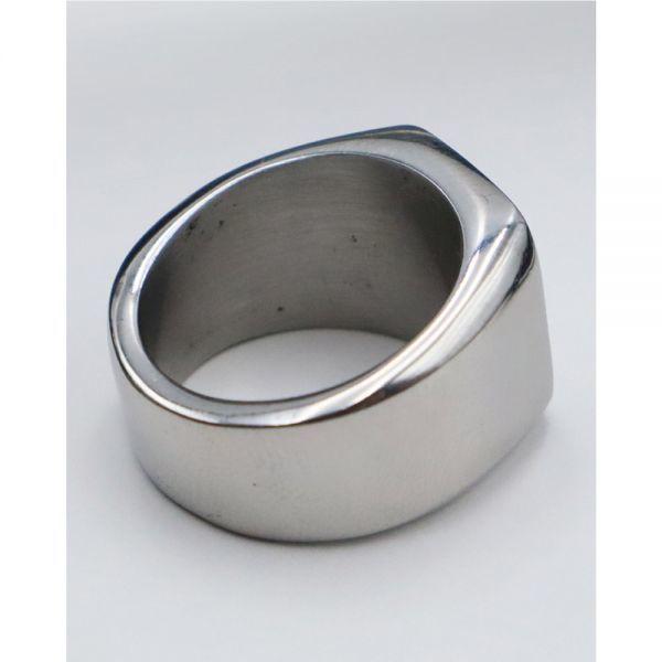 指輪 メンズ リング 印台 シグネット スクエア カレッジ 角丸 サージカルステンレス 艶 光沢 鏡面 シンプル 重厚感【24号/シルバー】_画像9