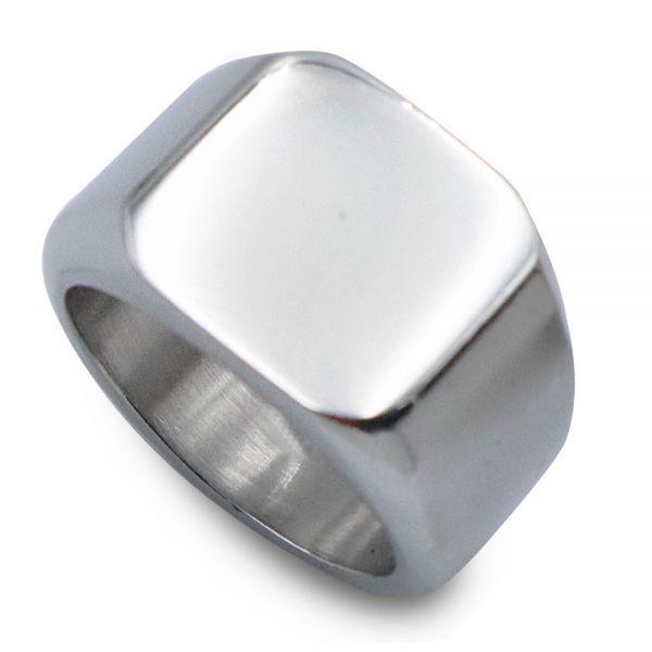 指輪 メンズ リング 印台 シグネット スクエア カレッジ 角丸 サージカルステンレス 艶 光沢 鏡面 シンプル 重厚感【24号/シルバー】_画像6