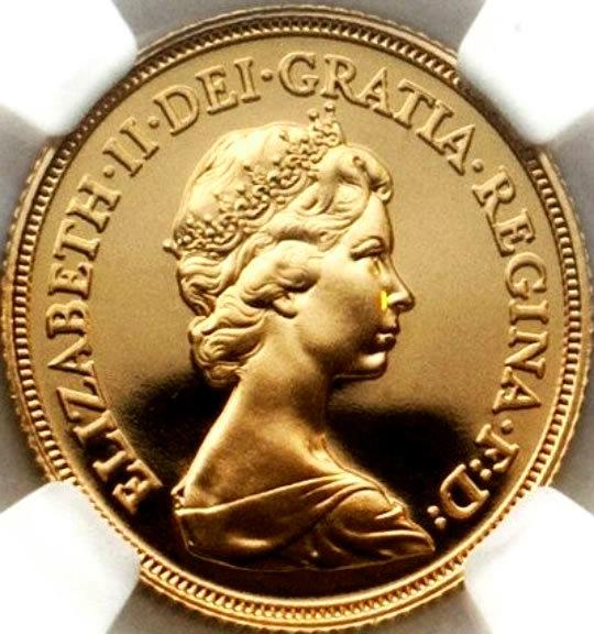 英国 1983年 エリザベス女王 ソブリン プルーフ 金貨 PF69 NGC 準最高鑑定 イギリス ヤン