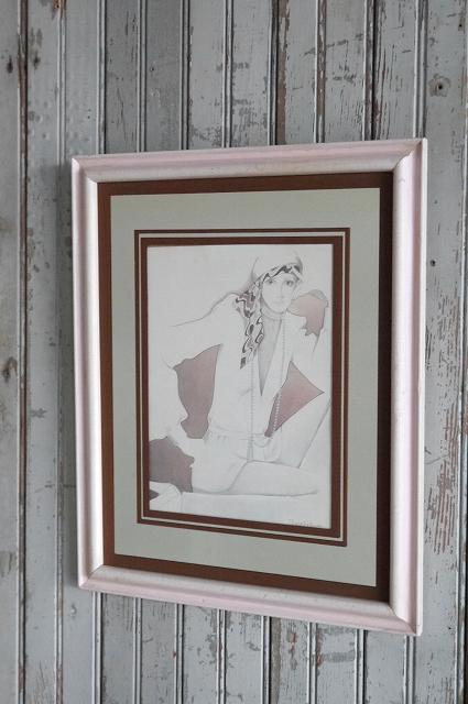 アンティーク女性デザインウォールデコビンテージコレクタブルディスプレイデコレーションアメリカパネル雑貨USA什器作品アートインテリア_画像1