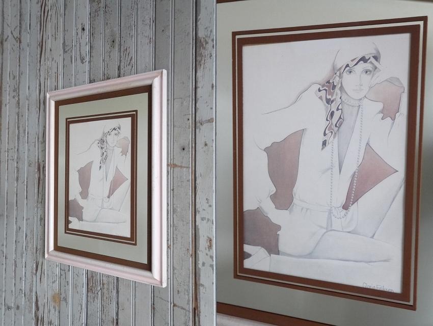 アンティーク女性デザインウォールデコビンテージコレクタブルディスプレイデコレーションアメリカパネル雑貨USA什器作品アートインテリア_画像2