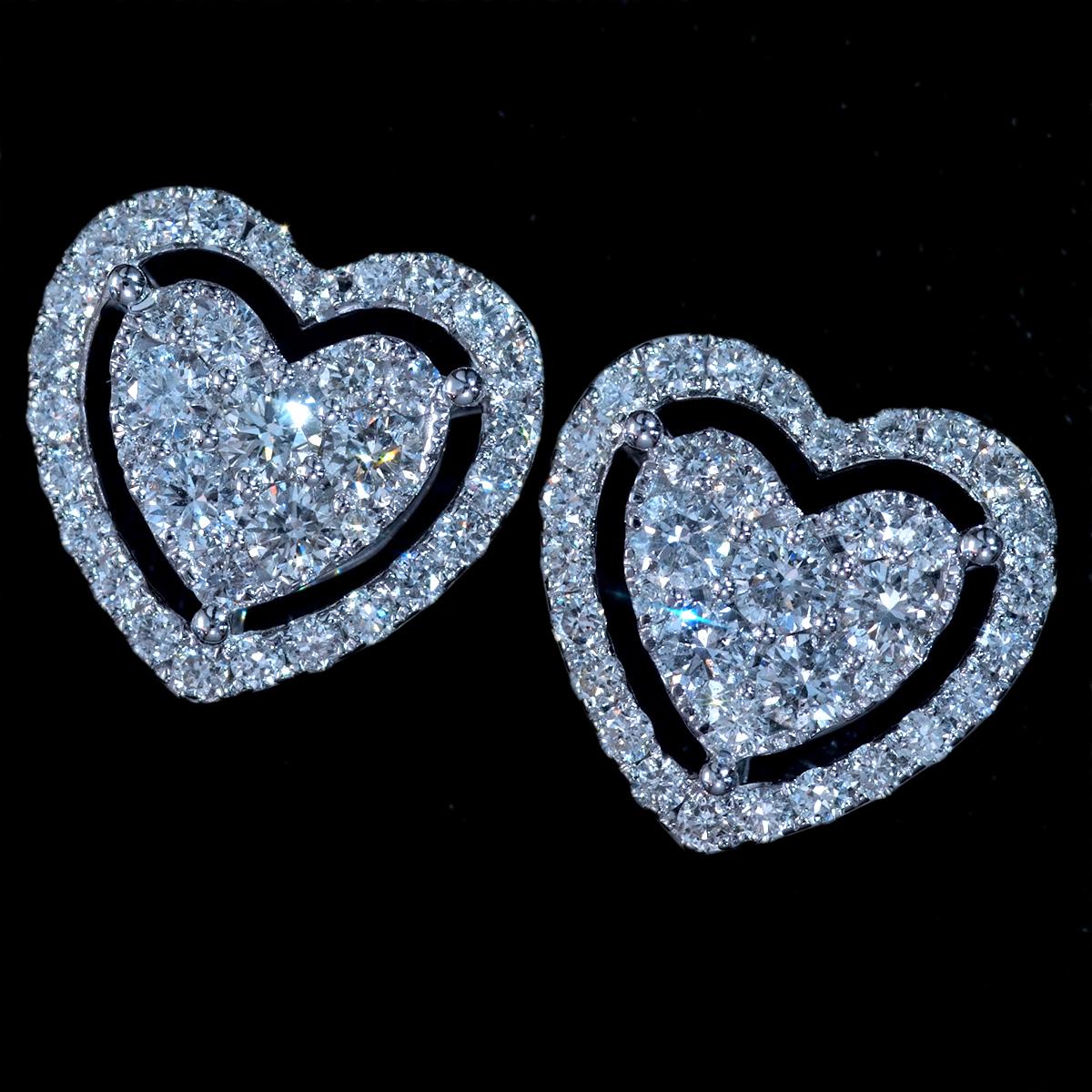 *PE3389【Heart Diamond Earrings】ハートダイヤモンドイヤリングス 天然上質ダイヤモンド1.20ct 最高級18金WG無垢ピアス