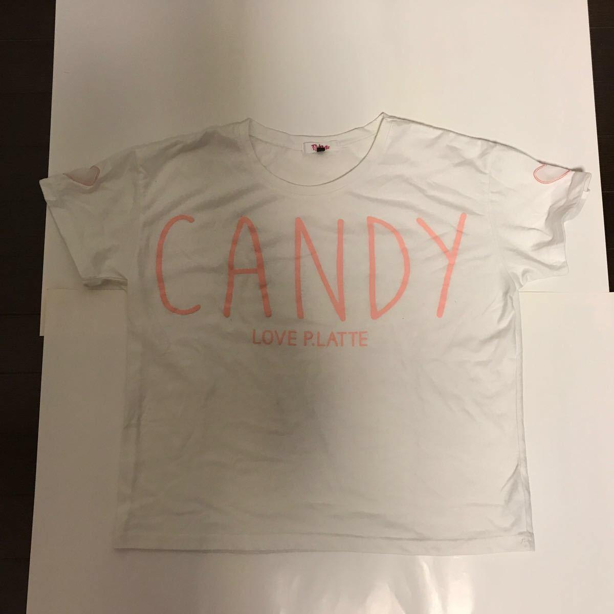 ピンクラテ 半袖 Tシャツ ティーンズ 女の子 白 ホワイト ハート ピンク