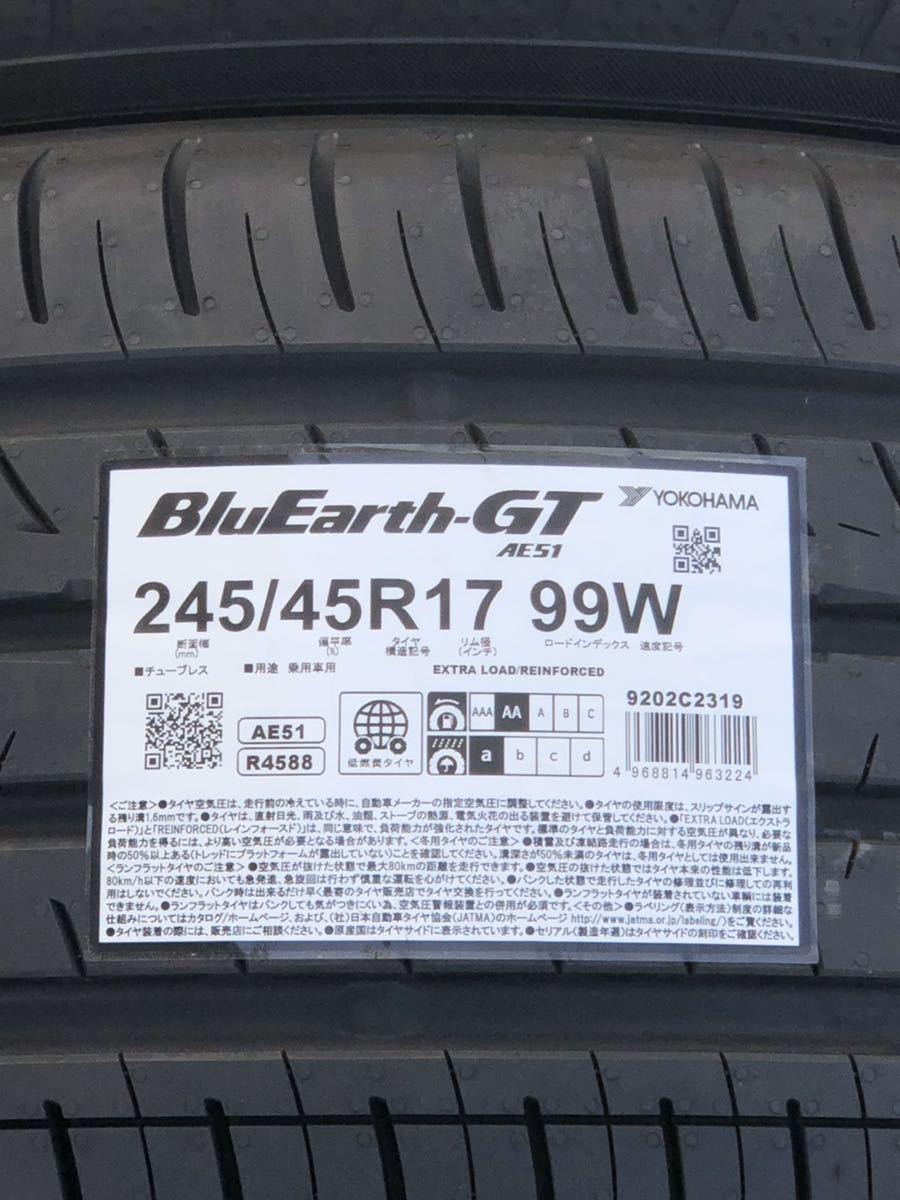 ヨコハマタイヤ YOKOHAMA BluEarth-GT ブルーアース 245/45R17 AE51 2019年製造_画像2