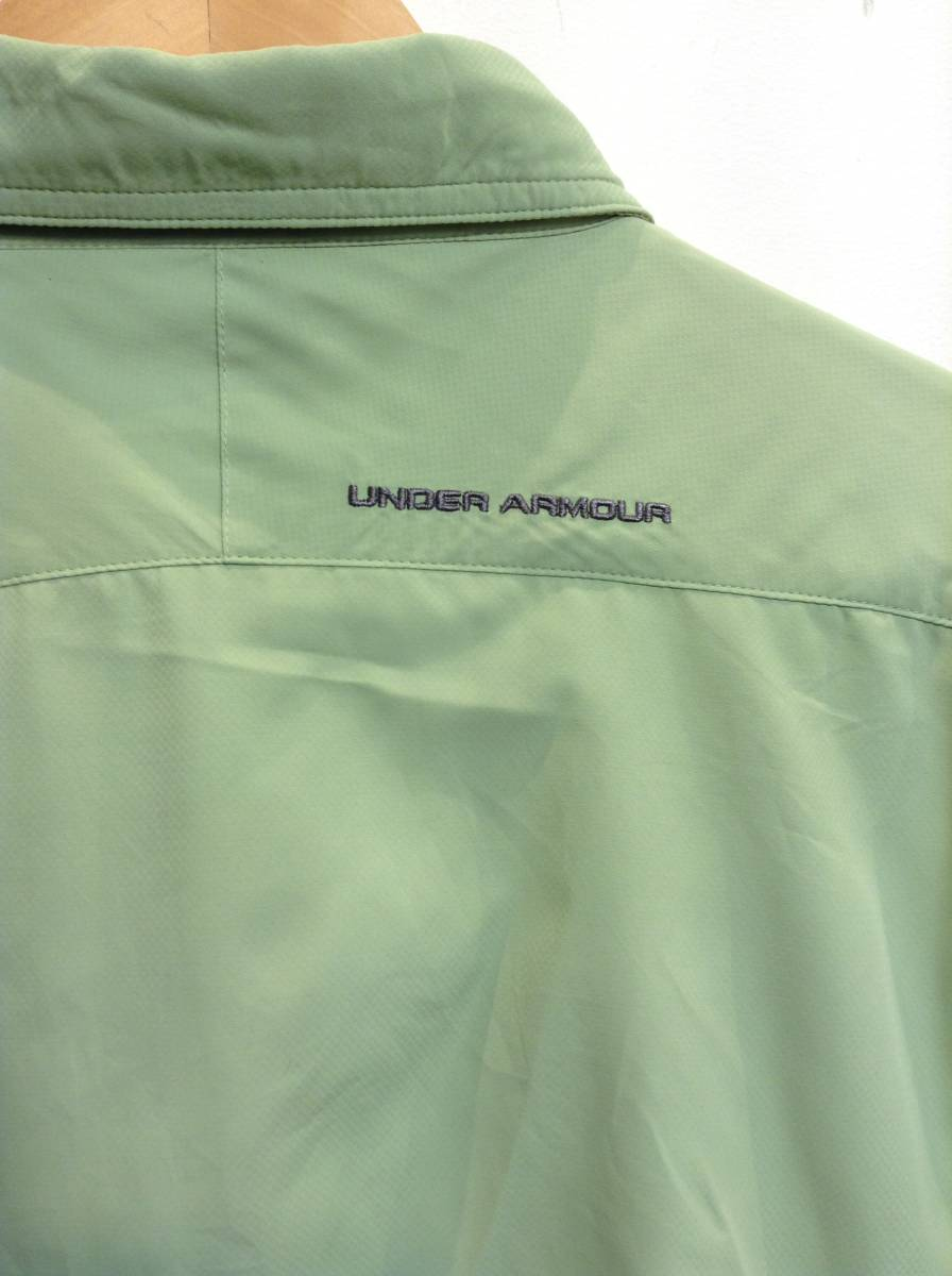 UNDER ARMOUR アンダーアーマー 背中裏地メッシュ 長袖シャツ スポーツ アウトドアウェア メンズXL~ 大きめ 黄緑 良品綺麗_画像8