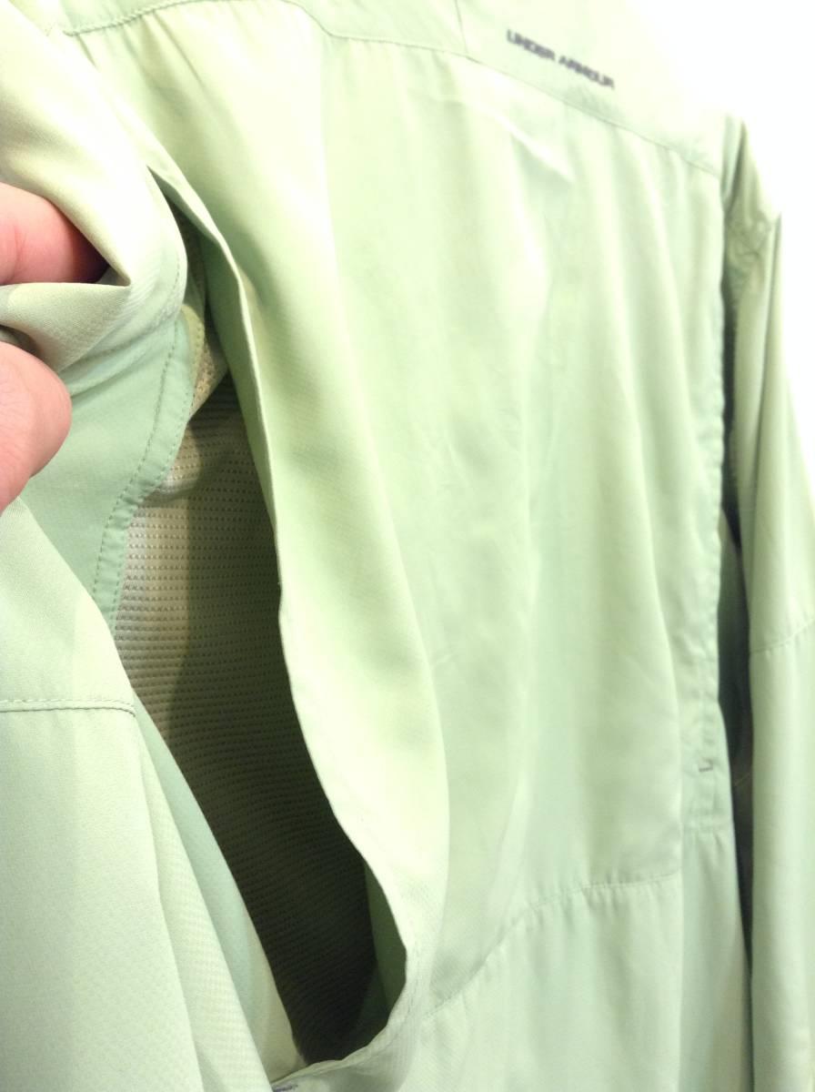 UNDER ARMOUR アンダーアーマー 背中裏地メッシュ 長袖シャツ スポーツ アウトドアウェア メンズXL~ 大きめ 黄緑 良品綺麗_画像7