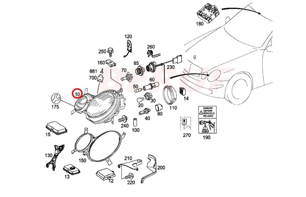 【AGGRE-PARTS】BENZ ベンツ バイキセノン ヘッドランプ HELLA製 / Eクラス W211 E230 E240 E250 E280 E300 前期用 左側通行用 日本仕様_画像2