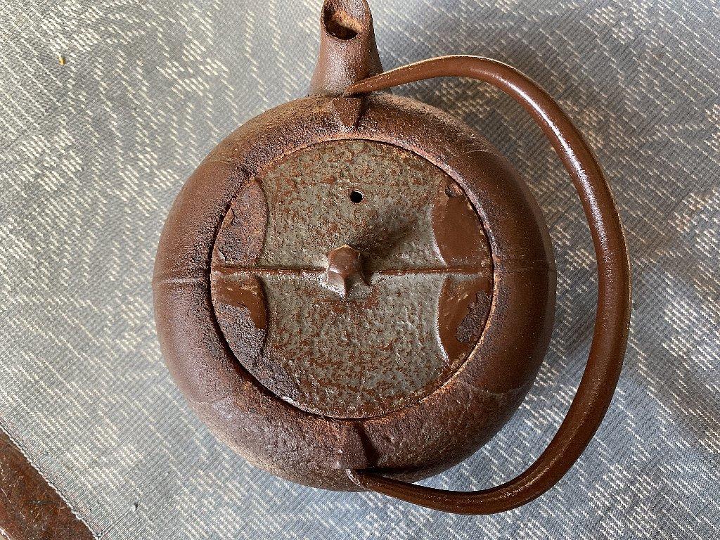 南部鉄器 柿葉紋 鉄瓶 岩鋳▼茶道具_画像6