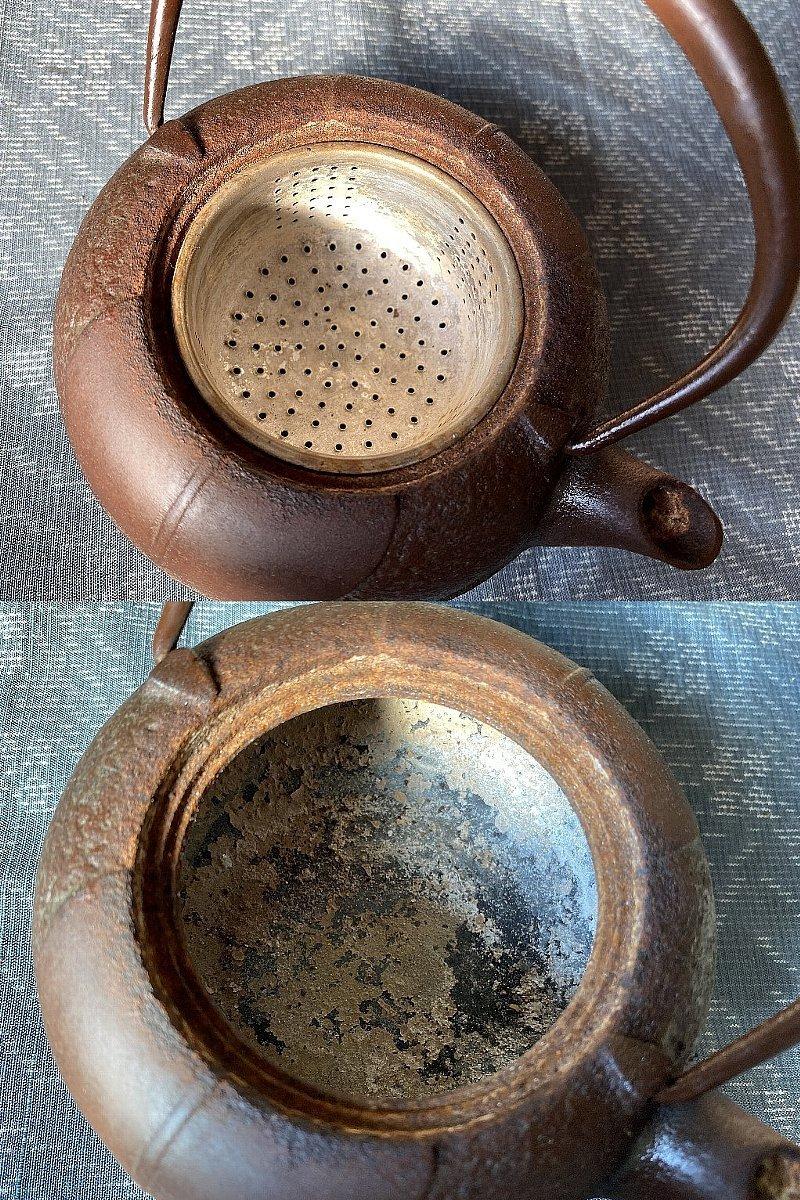 南部鉄器 柿葉紋 鉄瓶 岩鋳▼茶道具_画像8
