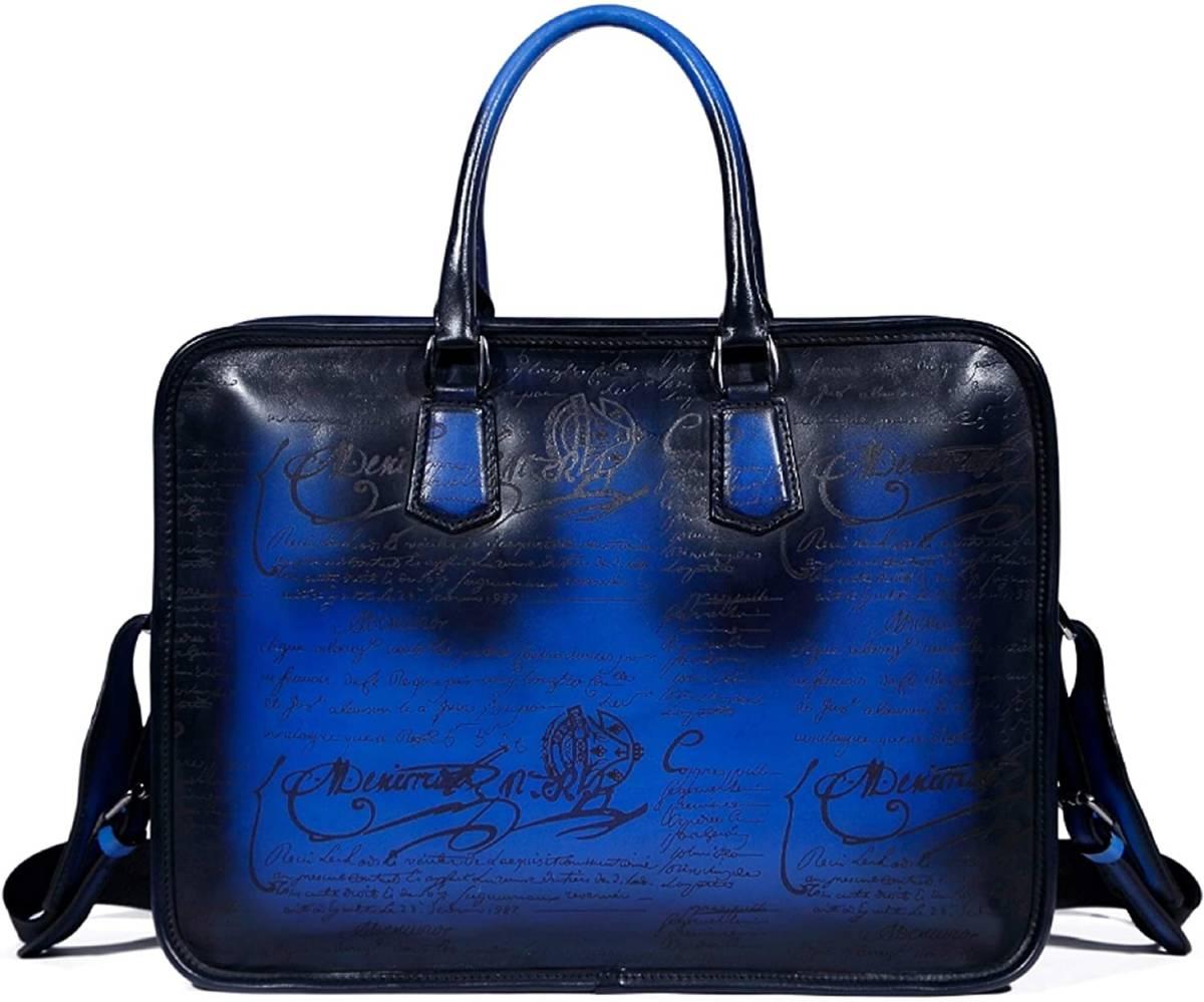 本革 栃木レザー ヌメ革 新品 ビジネスバッグ ブリーフケース 書類鞄 書類かばん 牛革 日本製 ショルダーバッグ トートバッグ ブルー 青