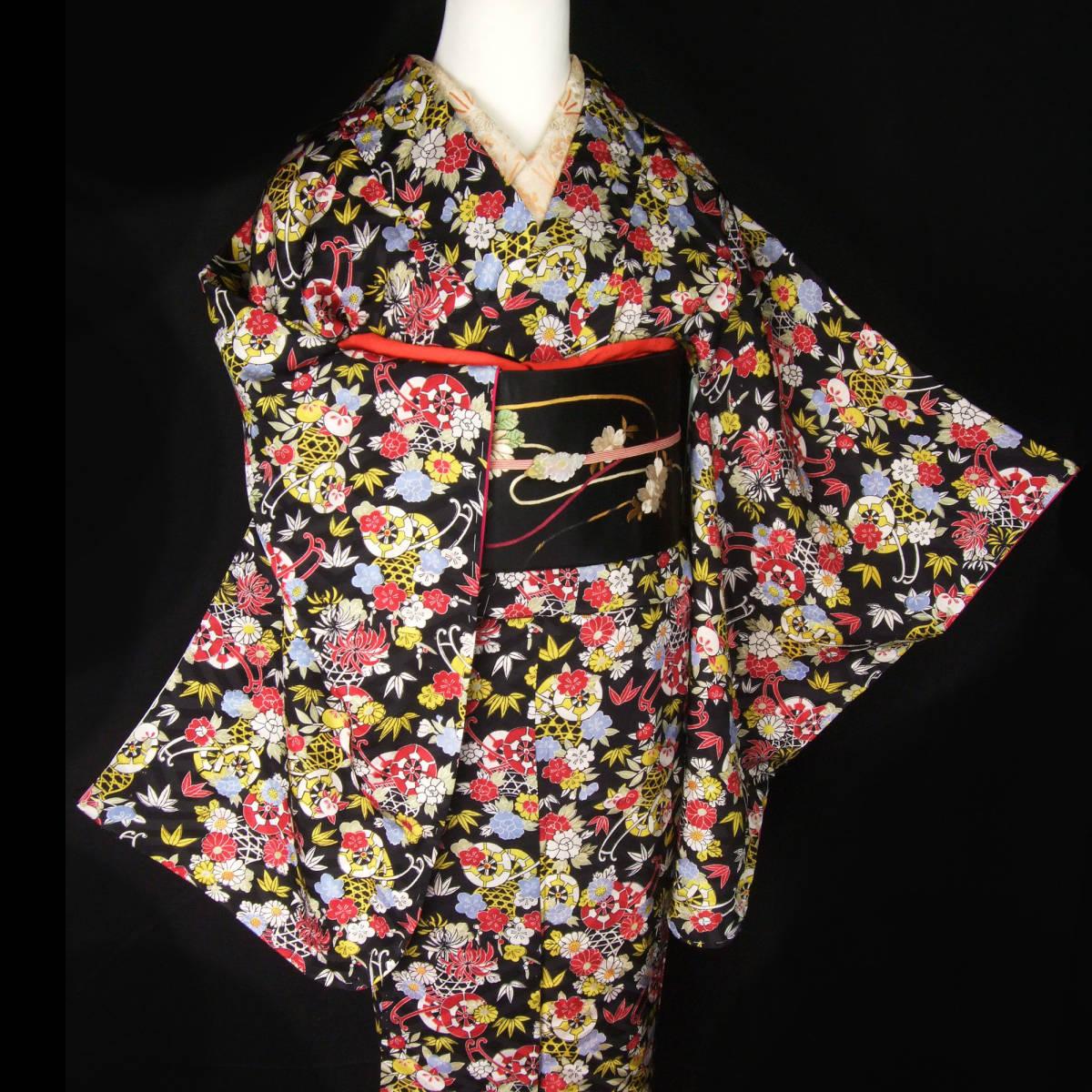 夏のセール!! 乙女屋*g449 美品!桜牡丹菊の花かご 黒地 アンティーク着物_画像1