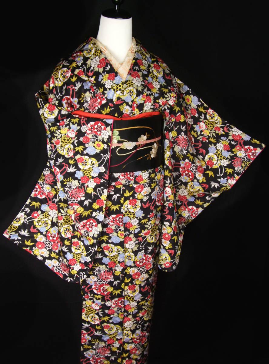 夏のセール!! 乙女屋*g449 美品!桜牡丹菊の花かご 黒地 アンティーク着物_画像9