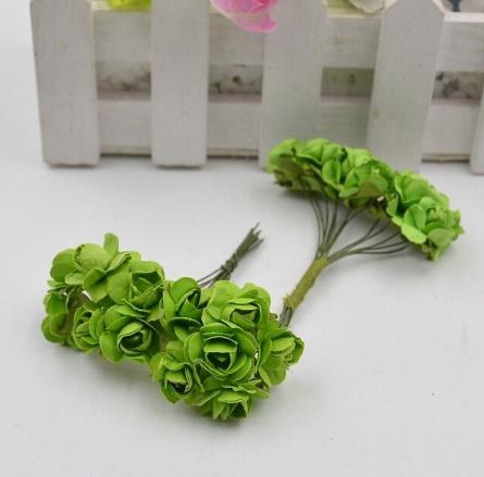 A1154:12ピース/ロット 造花 ミニ かわいい 紙ローズ 手作り 結婚式の装飾 花輪 ギフト スクラップ ブッキング クラフト フェイクフラワー_デザイン3