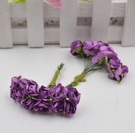 A1154:12ピース/ロット 造花 ミニ かわいい 紙ローズ 手作り 結婚式の装飾 花輪 ギフト スクラップ ブッキング クラフト フェイクフラワー_デザイン5