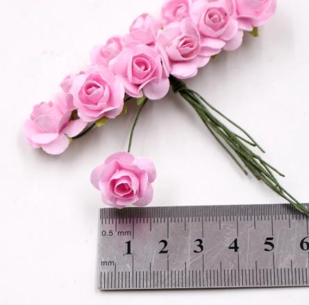 A1154:12ピース/ロット 造花 ミニ かわいい 紙ローズ 手作り 結婚式の装飾 花輪 ギフト スクラップ ブッキング クラフト フェイクフラワー_画像1