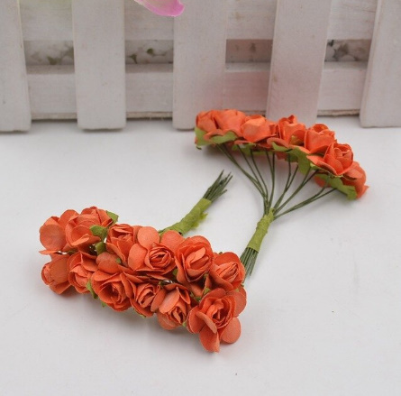 A1154:12ピース/ロット 造花 ミニ かわいい 紙ローズ 手作り 結婚式の装飾 花輪 ギフト スクラップ ブッキング クラフト フェイクフラワー_デザイン4
