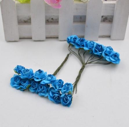 A1154:12ピース/ロット 造花 ミニ かわいい 紙ローズ 手作り 結婚式の装飾 花輪 ギフト スクラップ ブッキング クラフト フェイクフラワー_デザイン2