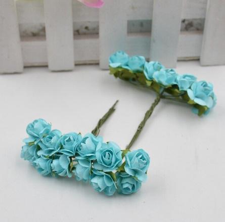 A1154:12ピース/ロット 造花 ミニ かわいい 紙ローズ 手作り 結婚式の装飾 花輪 ギフト スクラップ ブッキング クラフト フェイクフラワー_デザイン8