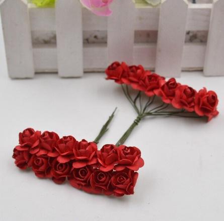 A1154:12ピース/ロット 造花 ミニ かわいい 紙ローズ 手作り 結婚式の装飾 花輪 ギフト スクラップ ブッキング クラフト フェイクフラワー_デザイン6