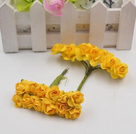 A1154:12ピース/ロット 造花 ミニ かわいい 紙ローズ 手作り 結婚式の装飾 花輪 ギフト スクラップ ブッキング クラフト フェイクフラワー_デザイン7