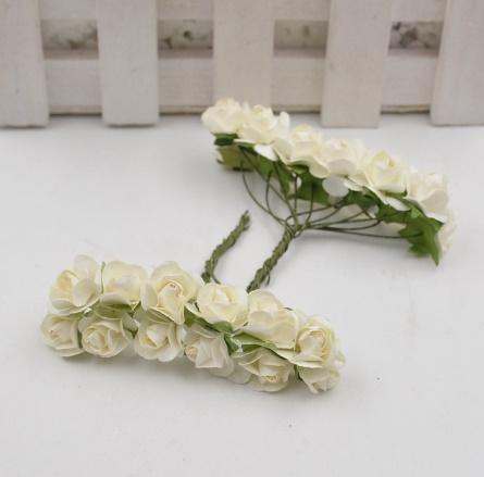 A1154:12ピース/ロット 造花 ミニ かわいい 紙ローズ 手作り 結婚式の装飾 花輪 ギフト スクラップ ブッキング クラフト フェイクフラワー_デザイン1