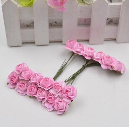 A1154:12ピース/ロット 造花 ミニ かわいい 紙ローズ 手作り 結婚式の装飾 花輪 ギフト スクラップ ブッキング クラフト フェイクフラワー_デザイン9
