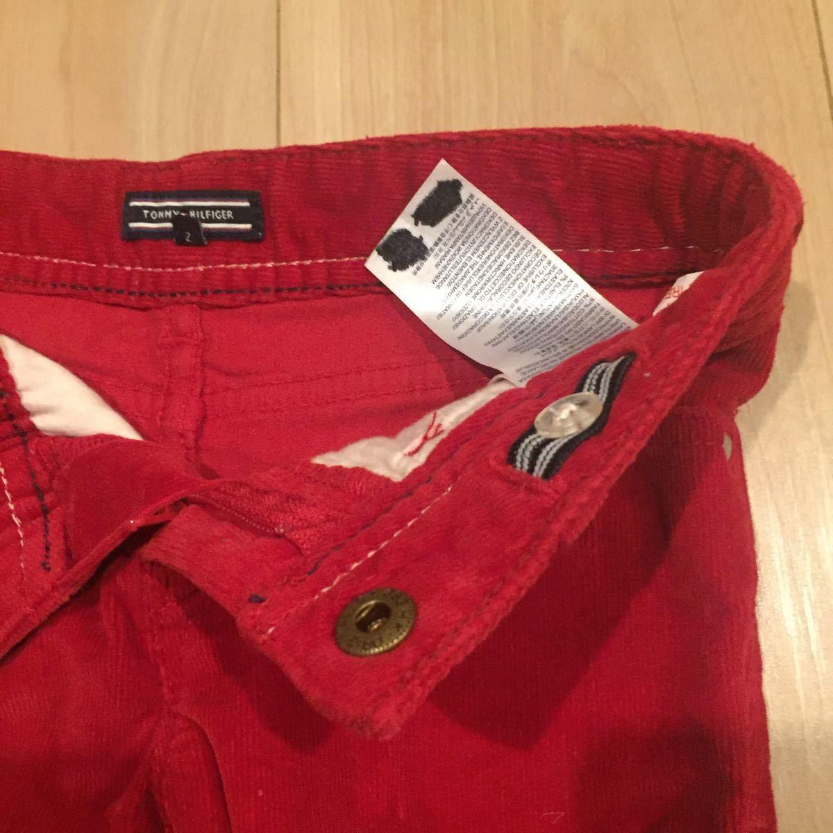 キッズ 幼児 トミーヒルフィガー TOMMY HILFIGER 92 赤 コーデュロイ 美品 パンツ グリッターパーツ ハートスタッズ 男女兼用 華やか 元気_画像5