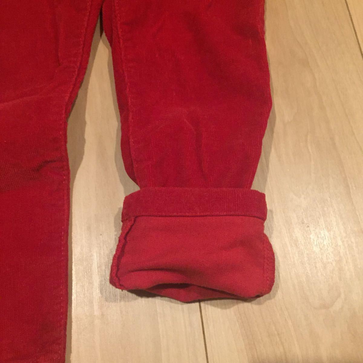キッズ 幼児 トミーヒルフィガー TOMMY HILFIGER 92 赤 コーデュロイ 美品 パンツ グリッターパーツ ハートスタッズ 男女兼用 華やか 元気_画像6