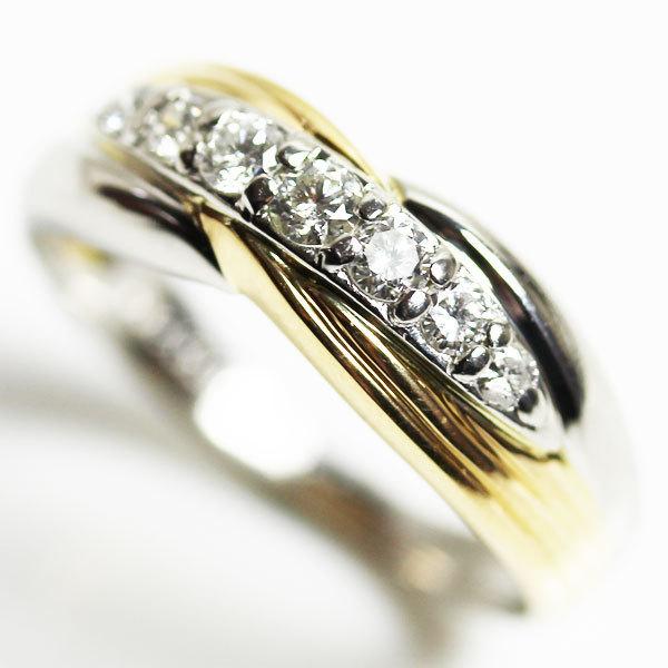 【MR2465】K18/PT イエローゴールド/プラチナ ファッションリング ダイヤモンドリング 指輪 D0.32 5.3g サイズ12号【中古 美品 質屋出品】_画像1