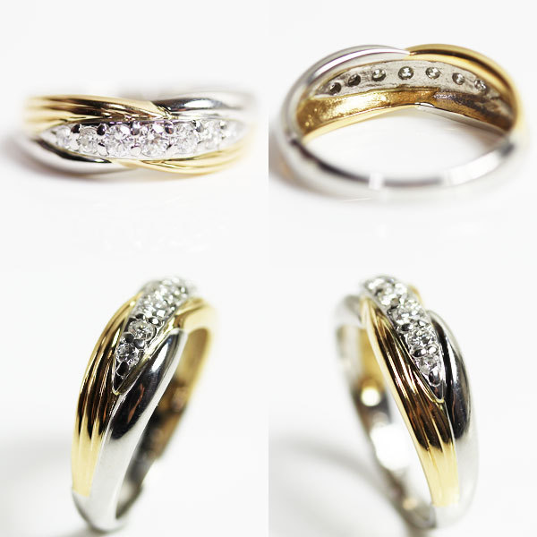 【MR2465】K18/PT イエローゴールド/プラチナ ファッションリング ダイヤモンドリング 指輪 D0.32 5.3g サイズ12号【中古 美品 質屋出品】_画像2