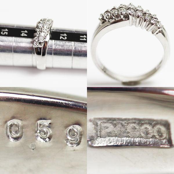 【MR2466】PT プラチナ ファッションリング ダイヤモンドリング 指輪 D0.59 7.0g サイズ13号【中古】【美品】【質屋出品】_画像3