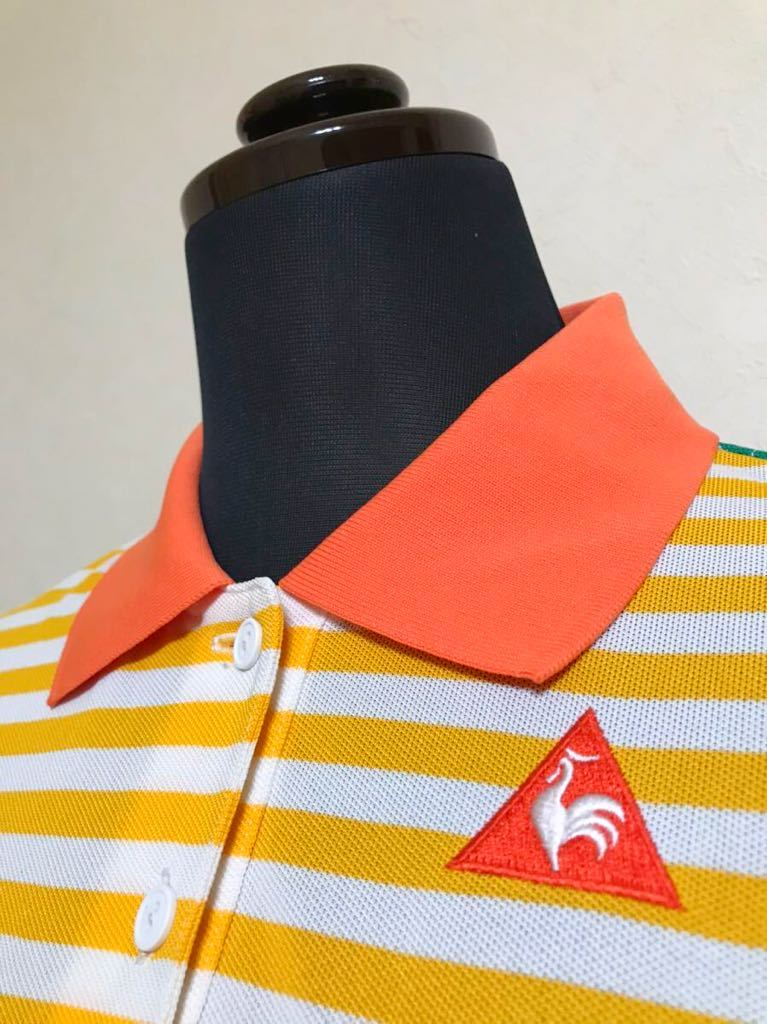 le coq sportif GOLF COLLECTION ルコック ゴルフ レディース ボーダー ドライ ポロシャツ トップス サイズL 半袖 QGL1920 デサント製_画像10