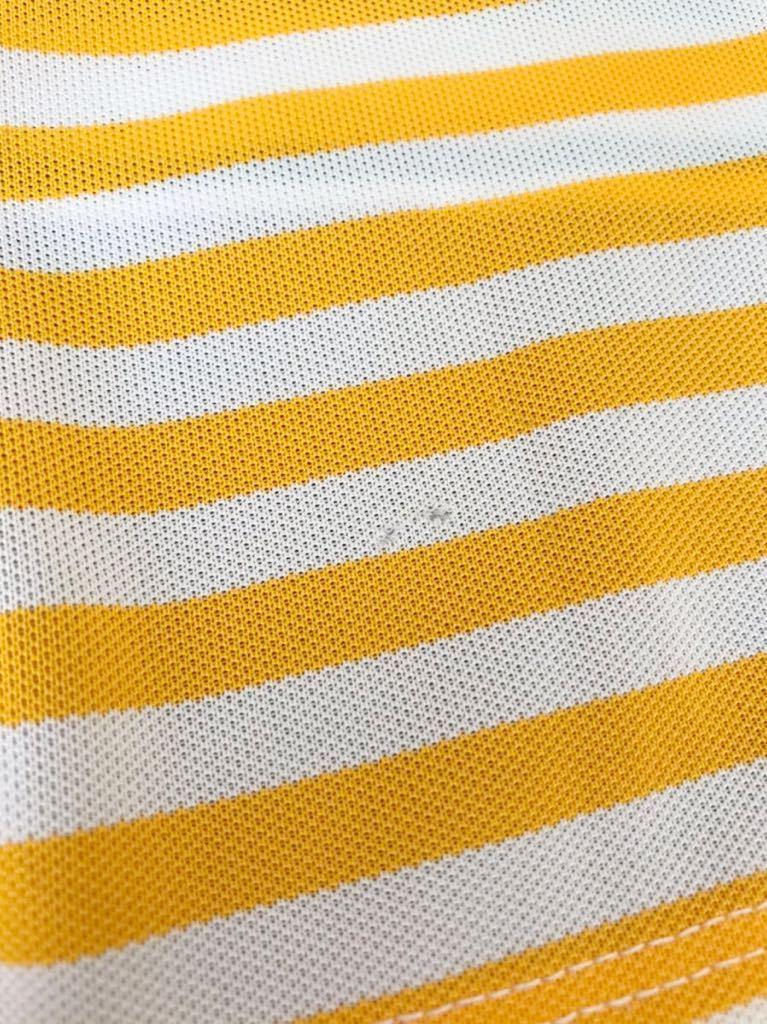le coq sportif GOLF COLLECTION ルコック ゴルフ レディース ボーダー ドライ ポロシャツ トップス サイズL 半袖 QGL1920 デサント製_腹部裾辺りに小穴ダメージあり