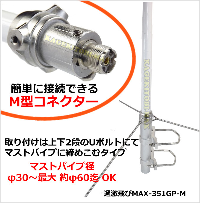 【M】351MHz デジタル簡易 無線専用設計 基地局用 遠距離通信 アンテナ 新品 M型コネクター / 351.29MHz デジ簡 無線機 に♪過激飛びMAX_画像2