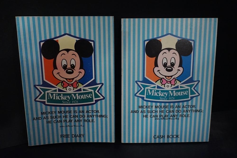 レトロ 昔 ミッキーマウス 日記帳 小遣い帳 2点 倉庫品 ビンテージ ディズニー 雑貨_画像1