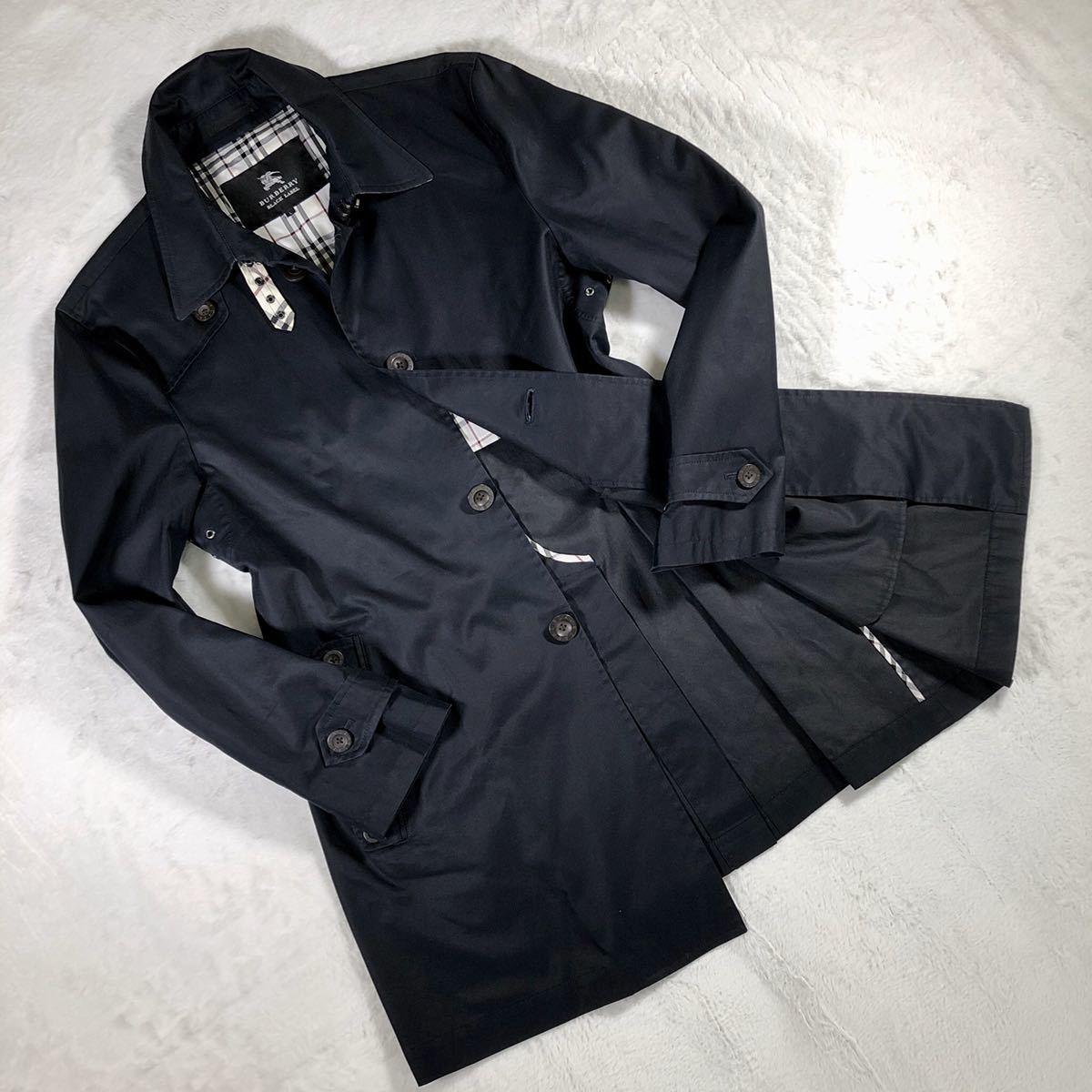 【美品・希少なLサイズ】バーバリーブラックレーベル ステンカラーコート ネイビー BURBERRY BLACK LABEL ブルゾン スプリングコート